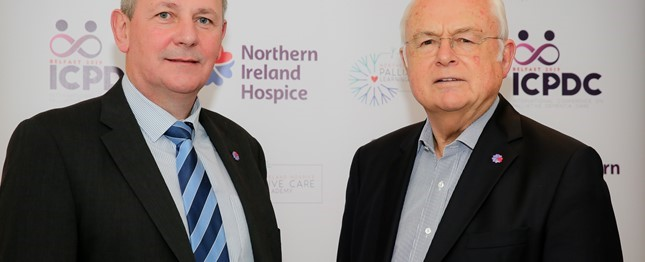 Richard Pengelly, Permanent Secretary, Department of Health Northern Ireland and former BBC presenter Sir Martyn Lewis, a Northern Ireland Hospice Ambassador.JPG